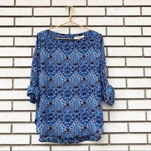 LOFT Blue Baroque Tab Sleeve Blouse
